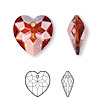 Drop, Swarovski crystal, Crystal Passions®, crystal red magma, 18x17mm faceted heart pendant (6215). Sold individually.