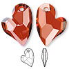 Drop, Swarovski crystal, Crystal Passions®, crystal red magma, 27x20mm faceted Devoted 2 U Heart pendant (6261). Sold per pkg of 4.