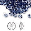 Drop, Swarovski crystal, Crystal Passions®, denim blue, 6mm Xilion rivoli pendant (6428). Sold per pkg of 144 (1 gross).