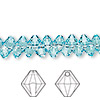 Drop, Swarovski crystal, Crystal Passions®, light turquoise, 6mm Xilion bicone pendant (6328). Sold per pkg of 12.