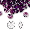 Drop, Swarovski crystal, amethyst, 8mm Xilion rivoli pendant (6428). Sold per pkg of 144 (1 gross).