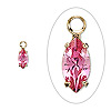 Drop, Swarovski crystal and gold-plated brass, rose, 8x4mm marquise. Sold per pkg of 4.