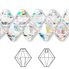 Drop, Swarovski crystal, crystal AB, 10mm faceted bicone pendant (6301). Sold per pkg of 2.