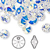 Drop, Swarovski crystal, crystal AB, 8mm Xilion rivoli pendant (6428). Sold per pkg 144 (1 gross).