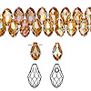Drop, Swarovski crystal, crystal copper, 9x5mm faceted briolette pendant (6007). Sold per pkg of 288 (2 gross).