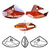 Drop, Swarovski crystal, crystal red magma, 27x16mm faceted horizontal galactic pendant (6657). Sold per pkg of 30.