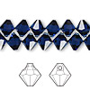 Drop, Swarovski crystal, dark indigo, 8mm faceted bicone pendant (6301). Sold per pkg of 144 (1 gross).