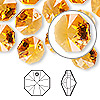 Drop, Swarovski crystal, topaz, 12x12mm faceted octagon pendant (6401). Sold per pkg of 144 (1 gross).
