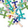 Drop mix, epoxy and silver-plated brass, mixed colors, 15x9mm double-sided cross. Sold per pkg of 40.