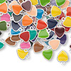 Drop mix, epoxy and silver-plated brass, mixed colors, 7x7mm double-sided heart. Sold per pkg of 120.