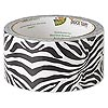 Duct tape, Duck Tape®, plastic / poly-cotton cloth / rubber, white and black, 48mm wide with zebra print pattern. Sold per 10-yard spool.