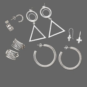 Earring mix, sterling silver, mixed size / shape / style. Sold per pkg of 5 pairs.