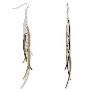 Earring, silver- / gold- / copper- / gunmetal-plated brass, 4-1/4 inches with 50x10mm flat curved line and fishhook earwire. Sold per pair.