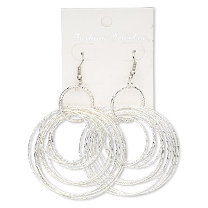 Earring, silver-plated steel, 3-1/2 inch graduated textured circles with fishhook earwire. Sold per pair.
