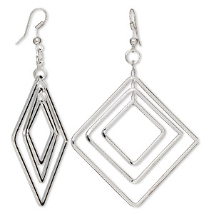 Earring, silver-plated steel, 3-inch graduated diamond-shape with fishhook earwire. Sold per pair.