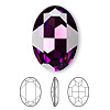 Embellishment, Swarovski crystal rhinestone, Crystal Passions®, amethyst, foil back, 30x22mm faceted oval fancy stone (4127). Sold per pkg of 4.