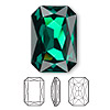 Embellishment, Swarovski crystal rhinestone, Crystal Passions®, emerald, foil back, 27x18.5mm faceted emerald-cut fancy stone (4627). Sold individually.