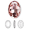 Embellishment, Swarovski crystal rhinestone, Crystal Passions®, light rose, foil back, 30x22mm faceted oval fancy stone (4127). Sold individually.