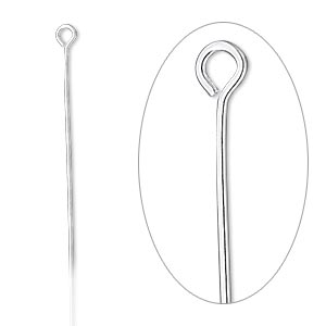 Eyepin, sterling silver-filled, 2-1/8 inches, 22 gauge. Sold per pkg of 10.