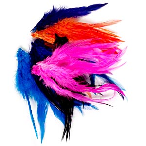 Feather mix, chicken (dyed), mixed colors, 3-1/2 to 7-1/2 inch saddle hackle. Sold per 0.38-ounce pkg, approximately 85 feathers.