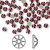 Flat back, Swarovski crystal rhinestone, Crystal Passions®, Siam, foil back, 3.8-4mm Xilion rose (2058), SS16. Sold per pkg of 144 (1 gross).