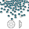Flat back, Swarovski crystal rhinestone, Crystal Passions®, blue zircon, foil back, 3-3.2mm Xilion rose (2058), SS12. Sold per pkg of 144 (1 gross).