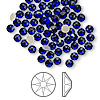 Flat back, Swarovski crystal rhinestone, Crystal Passions®, cobalt, foil back, 3.8-4mm Xilion rose (2058), SS16. Sold per pkg of 144 (1 gross).