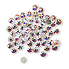 Flat back, Swarovski crystal rhinestone, Crystal Passions®, crystal AB, foil back, 3-3.2mm Xilion rose (2058), SS12. Sold per pkg of 144 (1 gross).