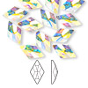 Flat back, Swarovski crystal rhinestone, Crystal Passions®, crystal AB, foil back, 13x8mm faceted rhombus (2709). Sold per pkg of 12.