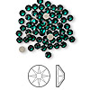 Flat back, Swarovski crystal rhinestone, Crystal Passions®, emerald, foil back, 3-3.2mm Xilion rose (2058), SS12. Sold per pkg of 144 (1 gross).