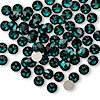 Flat back, Swarovski crystal rhinestone, Crystal Passions®, emerald, foil back, 4.6-4.8mm Xilion rose (2058), SS20. Sold per pkg of 12.