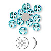 Flat back, Swarovski crystal rhinestone, Crystal Passions®, light turquoise, foil back, 7.07-7.27mm Xilion rose (2058), SS34. Sold per pkg of 12.