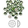 Flat back, Swarovski crystal rhinestone, Crystal Passions®, peridot, foil back, 4.6-4.8mm Xilion rose (2058), SS20. Sold per pkg of 144 (1 gross).