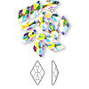 Flat back, Swarovski crystal rhinestone, crystal AB, foil back, 10x6mm faceted rhombus (2709). Sold per pkg of 12.