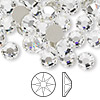 Flat back, Swarovski crystal rhinestone, crystal clear, foil back, 7.07-7.27mm Xilion rose (2058), SS34. Sold per pkg of 144 (1 gross).