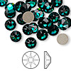Flat back, Swarovski crystal rhinestone, emerald, foil back, 7.07-7.27mm Xilion rose (2058), SS34. Sold per pkg of 144 (1 gross).