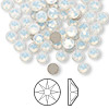 Flat back, Swarovski crystal rhinestone, white opal, foil back, 4.6-4.8mm Xilion rose (2058), SS20. Sold per pkg of 144 (1 gross).