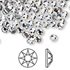 Flat back, Swarovski hotfix crystal rhinestone, Crystal Passions®, crystal clear, foil back, 4.6-4.8mm Xilion rose (2038), SS20. Sold per pkg of 12.
