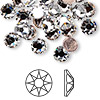 Flat back, Swarovski hotfix crystal rhinestone, crystal clear, foil back, 7.07-7.27mm Xilion rose (2038), SS34. Sold per pkg of 144 (1 gross).