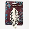 Focal, Blue Moon Beads®, bone (natural / dyed), white and brown, 3x1-1/4 inch carved feather. Sold individually.