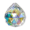 Focal, German crystal, clear AB, 35x30mm top-drilled faceted round teardrop. Sold per pkg of 5.