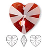 Focal, Swarovski crystal, Crystal Passions®, crystal red magma, 40x40mm Xilion heart pendant (6228). Sold individually.