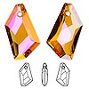 Focal, Swarovski crystal, crystal astral pink, 50x30mm faceted de-art pendant (6670). Sold per pkg of 6.