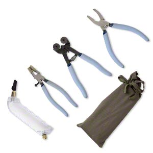 Glass cutting tools, steel / plastic / canvas, multicolored, running pliers / breaker-grozer / pistol-grip glass cutter / wheeled glass nippers. Sold per 4-piece set.