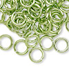 Jumpring, aluminum, green, 10mm smooth round, 14 gauge. Sold per pkg of 100.