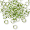 Jumpring, aluminum, green, 6mm smooth round, 18 gauge. Sold per pkg of 100.