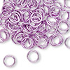 Jumpring, aluminum, light purple, 8mm smooth round, 16 gauge. Sold per pkg of 100.