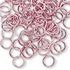 Jumpring, aluminum, pink, 8mm smooth round, 16 gauge. Sold per pkg of 100.
