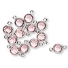 Link, Swarovski crystal and silver-plated brass, Crystal Passions®, light rose, 6.14-6.32mm faceted round, SS29. Sold per pkg of 12.