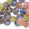 Link mix, glass and gold-finished brass, opaque multicolored, 10x6mm-12x7mm wire-wrapped rondelle. Sold per pkg of 25.